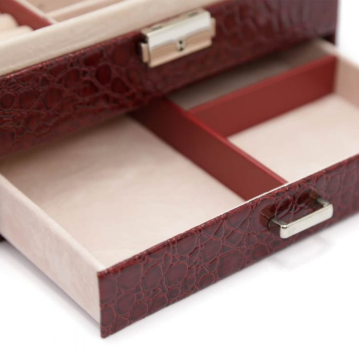 bordeaux-red-crocodile-pattern-jewellery-box-w-draw-4