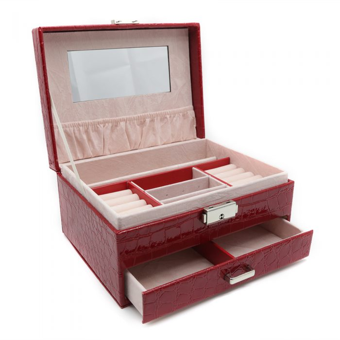 ruby-red-crocodile-pattern-jewellery-box-w-drawer-2