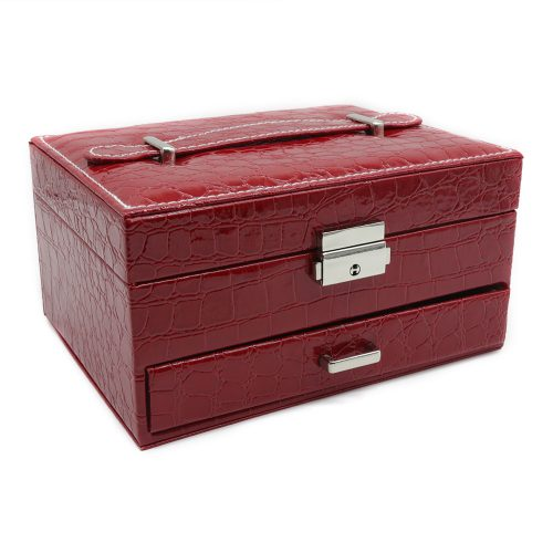 ruby-red-crocodile-pattern-jewellery-box-w-drawer-1